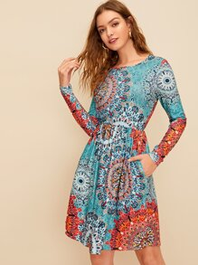 Tribal Print Pocket Side Dress