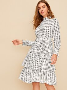 Polka Dot Tiered Layer Dress