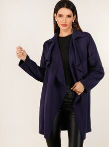 Roll Tap Sleeve Open Front Waterfall Coat