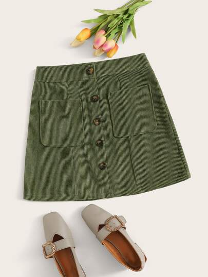 Dual Pocket Button Up Corduroy Skirt