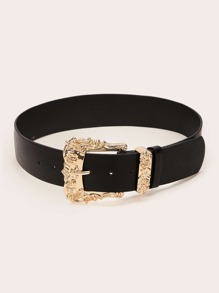 Flower Engraved Buckle Belt
