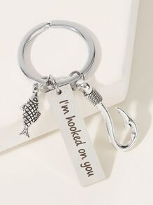 Fish & Letter Engraved Charm Keychain