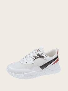 Lace-up Front Mesh Panel Trainers