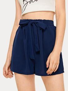 Solid Self Tie Elastic Waist Shorts