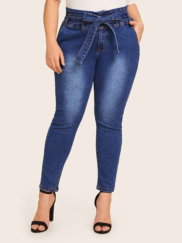 Shein Plus Paperbag Waist Belted Jeans by Sheinside