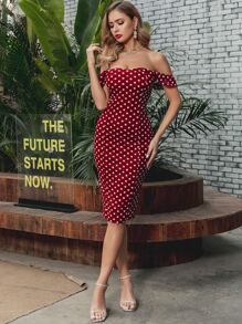 GLAMAKER Polka-dot Off Shoulder Bodycon Dress