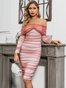 GLAMAKER Off Shoulder Mesh Overlay Bodycon Dress