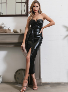 Glamaker Split Thigh Belted PU Leather Tube Dress