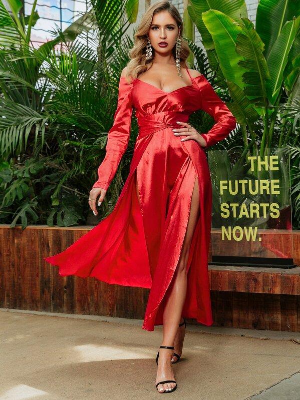 9b98f7975c GLAMAKER Cold Shoulder Split Thigh Satin Dress