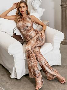 GLAMAKER Snakeskin Print Cut-out Wide Leg Jumpsuit