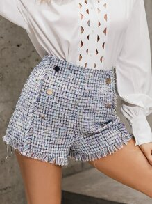 GLAMAKER Double Button Raw Hem Tweed Shorts