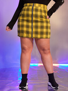Plus Tartan Zip Up Skirt