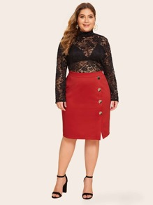 Plus Button Detail Split Skirt