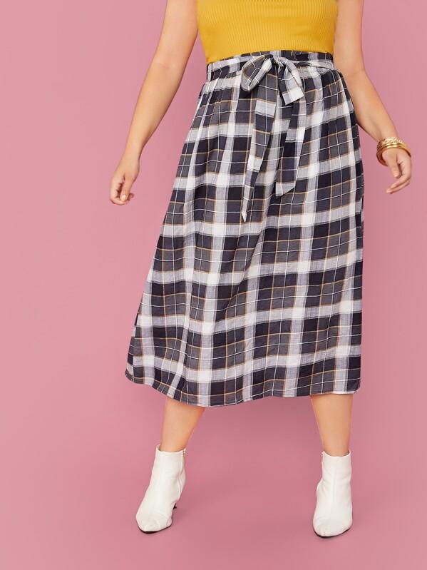SheinPlus Tie Front Tartan Skirt by Sheinside
