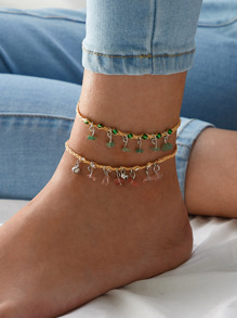 Stone Decor Braided Anklet 2pcs