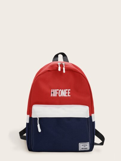 Letter Embroidered Color Block Backpack