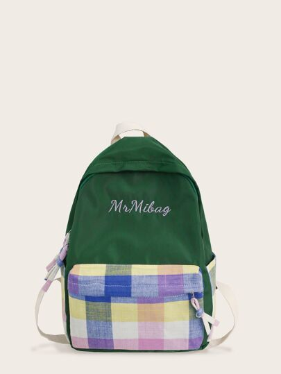 Embroidered Detail Plaid Pocket Front Backpack