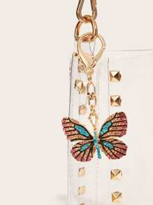 Color-block Rhinestone Engraved Butterfly Bag Accessory