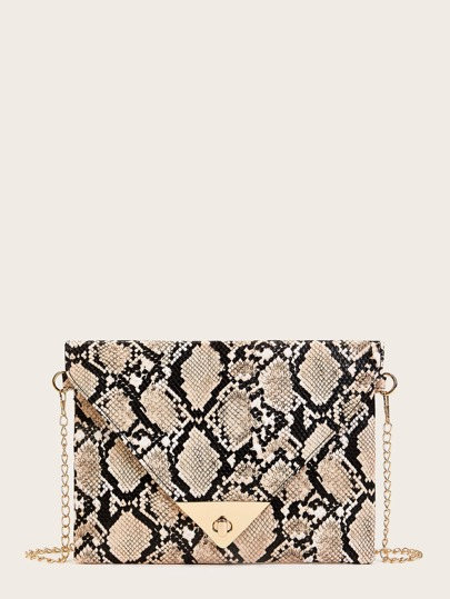 Twist Lock Snakeskin Print Chain Bag