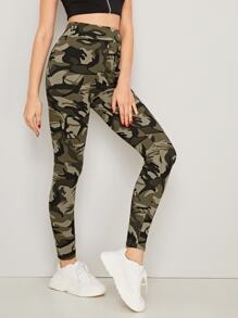 Camo Print Wide Band Waist Leggings