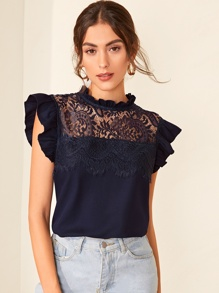 Contrast Lace Frill Cuff Blouse