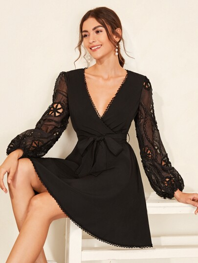 Contrast Guipure Lace Surplice Belted Dress