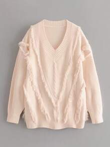V-neck Fringe Trim Jumper