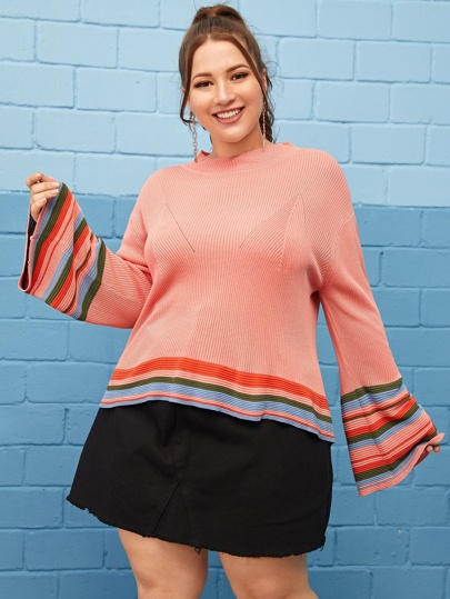 Plus Striped Print Flounce Sleeve Sweater