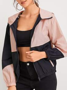 Colorblock Zip Through Hooded Jacket