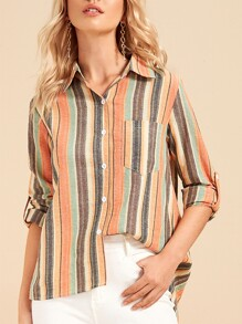 Block Stripe Pocket Patched Blouse