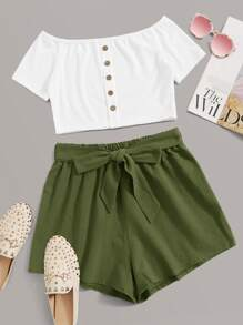 Off-shoulder Button Front Top & Belted Shorts