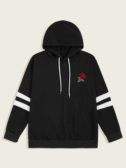 Guys Drawstring Contrast Striped Embroidery Hoodie