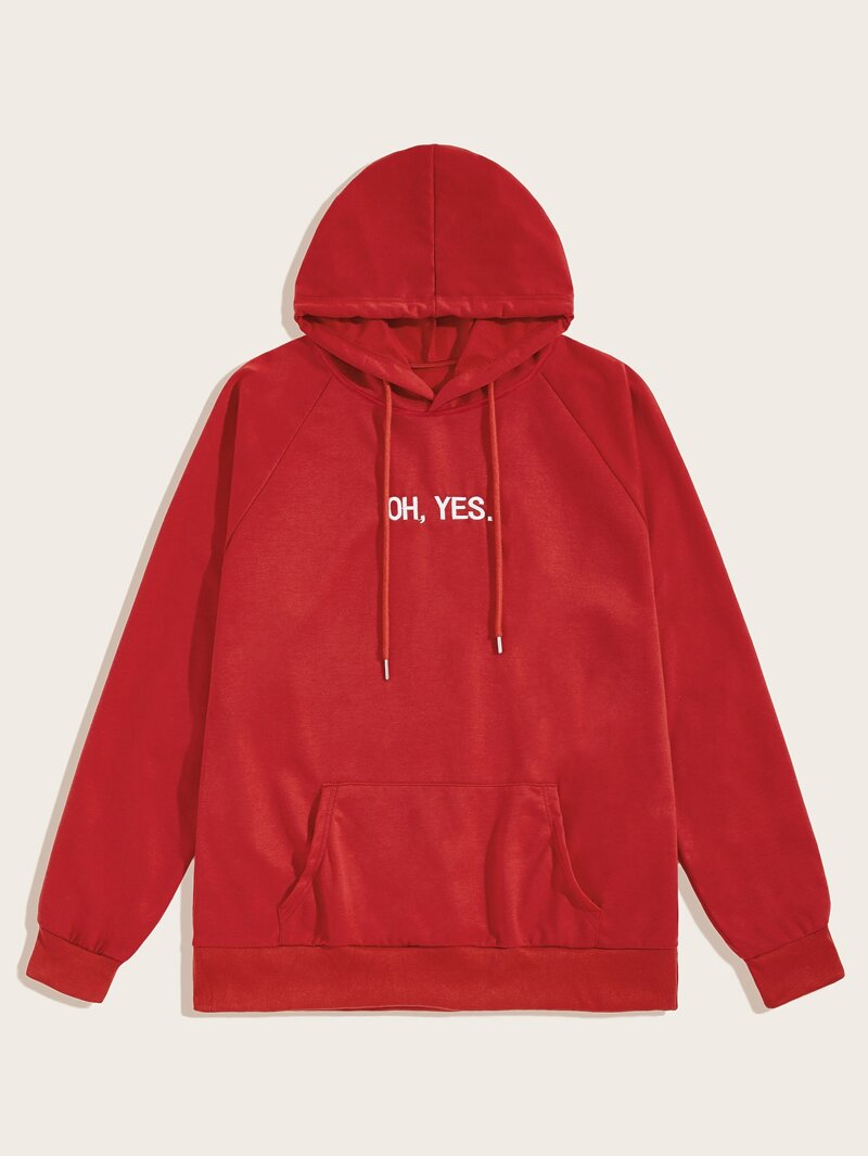 Guys Letter Embroidered Drawstring Hooded Sweatshirt by Romwe