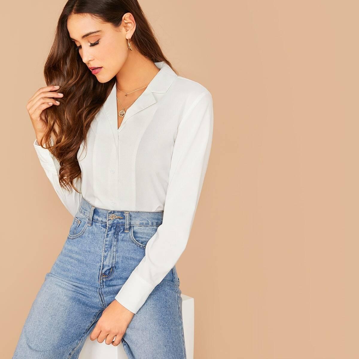 Стильная однотонная блуза
