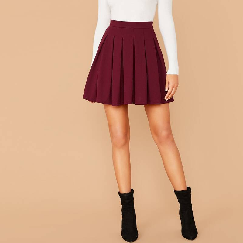Zip Back Boxy Pleated Skater Skirt, Burgundy