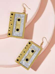 Cassette Shaped Drop Earrings 1pair