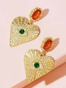 Rhinestone Engraved Heart Drop Earrings 1pair