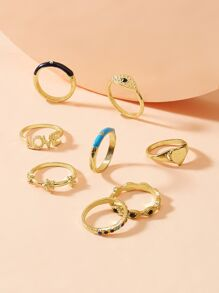 Letter & Heart Decor Ring 8pcs