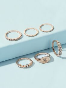 Rhinestone Engraved Ring 6pcs