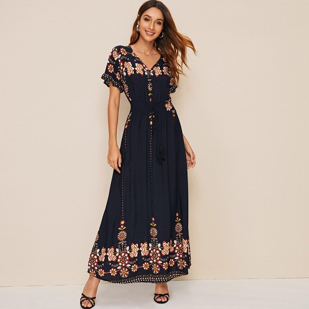 Платье с разрезом и цветочным принтом