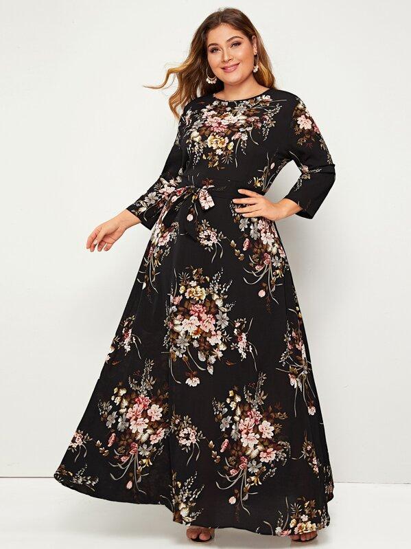 9c1ca8becc3b Vestido maxi con cinturón con estampado floral - grande