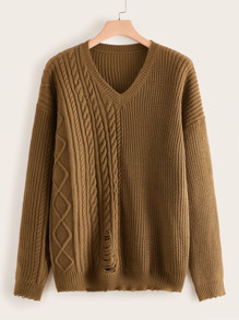 Plus Ripped Frayed Hem Sweater