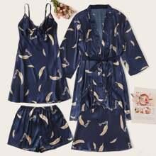 4Pcs Feather Print Satin Cami Dress With PJ Set & Robe