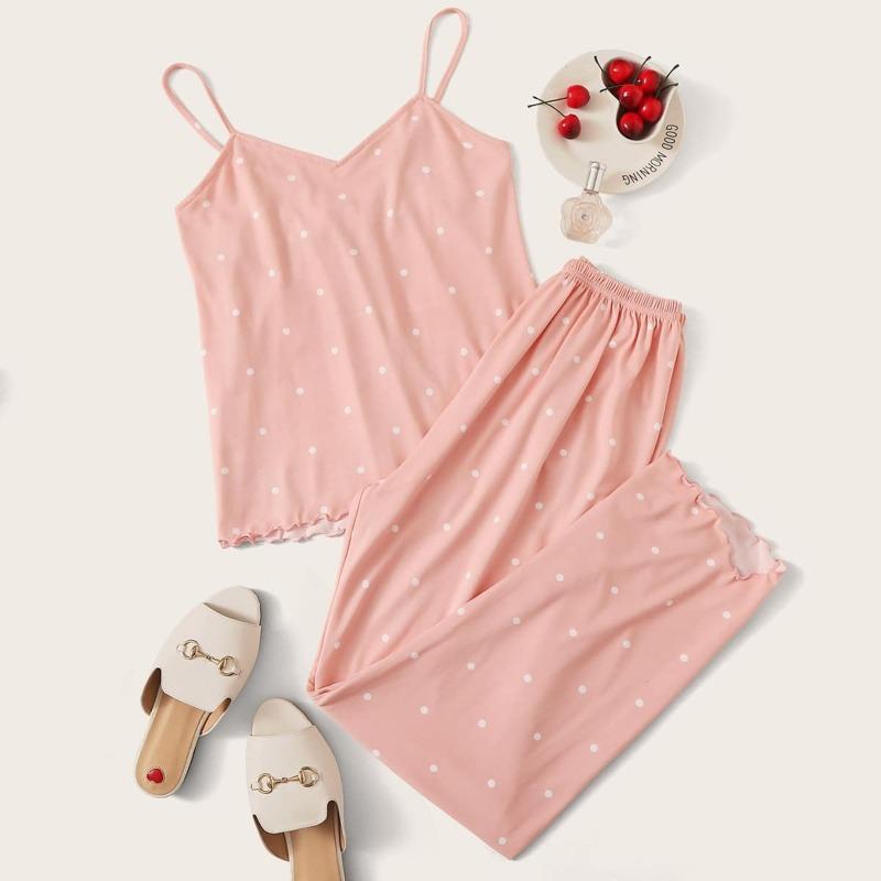 Polka Dot Lettuce Trim Cami PJ Set, Pastel coral pink