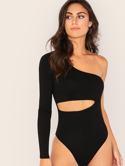 One Shoulder Peekaboo Bodysuit