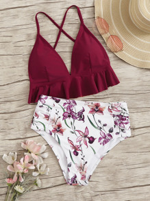 Ruffle Hem Criss Cross Top With Floral Bikini