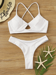 Textured Lace Up Underwire Bikini Set