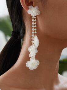 Faux Pearl Tassel Drop Earrings 1pair