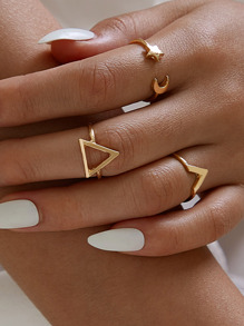 Geometric Star & Moon Ring Set 3pcs