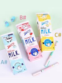 Creative Milk Box Shaped Pencil Bag 1pc